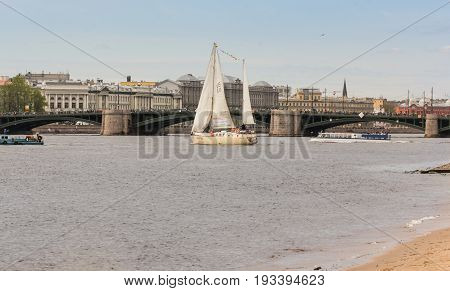 St. Petersburg Russia - 28 May, Yacht at the Palace Bridge, 28 May, 2017. Famous sightseeing places of St. Petersburg for tourists.