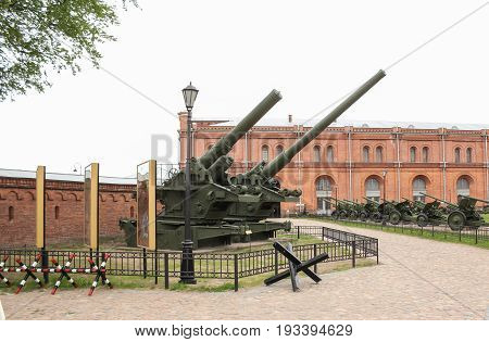 St. Petersburg Russia - 28 May, Big powerful howitzers, 28 May, 2017. Military History Museum of combat equipment in St. Petersburg.
