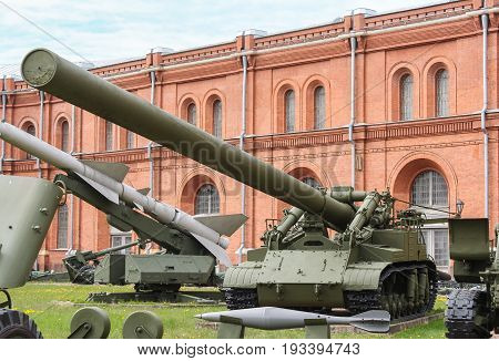 St. Petersburg Russia - 28 May, Self-propelled mortar installation Oka with a mine, 28 May, 2017. Military History Museum of combat equipment in St. Petersburg.