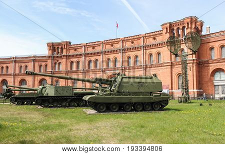 St. Petersburg Russia - 28 May, Self-propelled howitzers on the background of the military-historical museum, 28 May, 2017. Military History Museum of combat equipment in St. Petersburg.