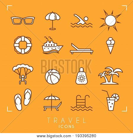 Travel and vacation icons set. Sunglasses umbrella swim sun lifebuoy ship desk chair ice cream air sports ball sun cream palms flip flops pool bar and cocktail.
