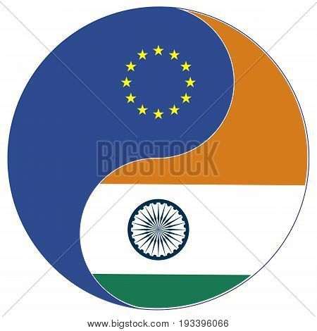 EU India Trade. Concept symbol for the Free Trade Agreement and Economic Partnership between the European Union and India