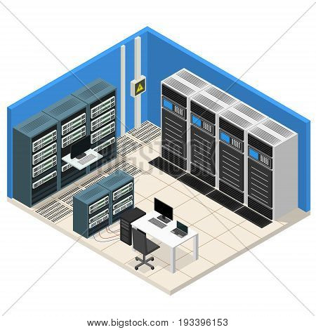 Interior Server Room Isometric View Computer Technology Data Center System Communication Equipment. Vector illustration