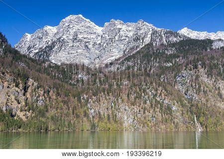 Watzmann mountain range at Lake Koenigssee Bavaria Germany