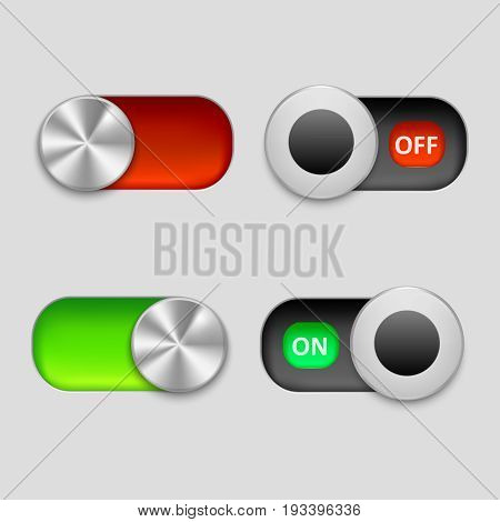 Realistic Sliders Button Element for Panel Technology Control On and Off Green or Red . Vector illustration