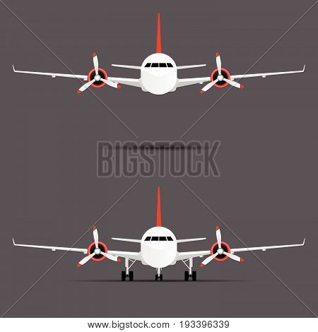Airplane With Motors With Propeller Set Illustration
