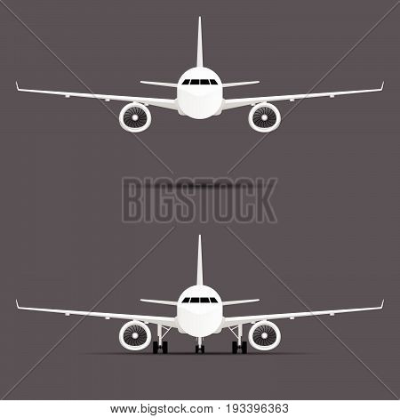 Airplane With Two Motors Set Illustration