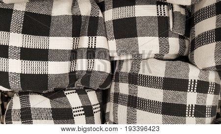 stock of Black and white symmetry on scot fabric pattern for fashion textile business industry