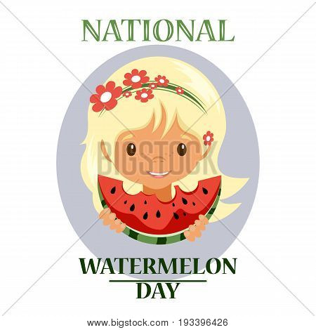 Day poster watermelon, a national holiday in the US on August 3, juicy piece of delicious watermelon. Cute girl eats a piece of watermelon. Stock vector