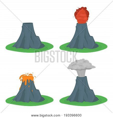 Cartoon Color Volcano Erupting Set Different Stages Volcanic Mountain Flat Style Design. Vector illustration
