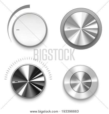 Realistic Metal Volume Knob Technology Control Music Sound Level Button Element Panel. Vector illustration