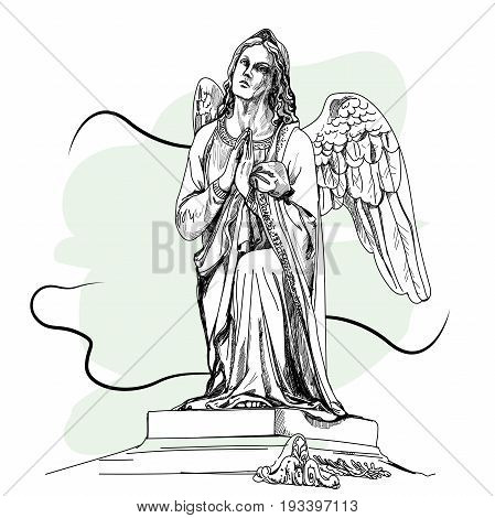 Marble sculpture of the grieving angel. Vector illustration