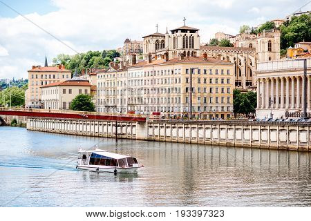 View on Rhone river and the old town in Lyon city in France
