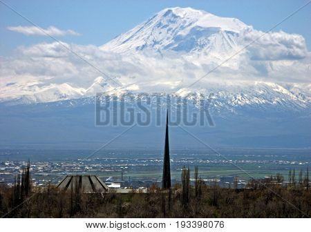 The Armenian Genocide Memorial and mount Ararat,Armenia.