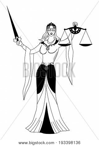 the illustration with portrait of woman - the justice.