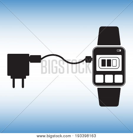 Charging smart watch flat vector icon. Recharging smart watch isolated vector sign. Recharging point vector symbol.