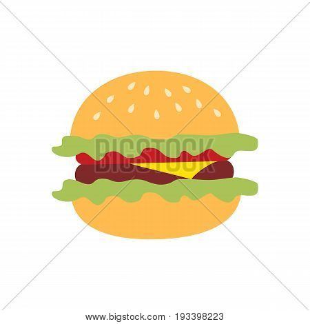 Icon hamburger painted in flat style on a white background