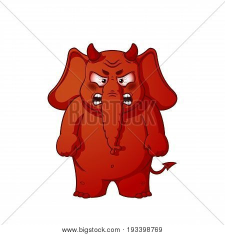 Elephant. Character. Angry red with horns. Devil. Big collection of isolated elephants. Vector, cartoon