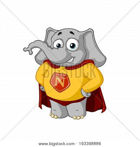 Elephant. Character. A superhero in a red cloak. Big collection of isolated elephants. Vector, cartoon