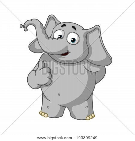 Elephant. Character. He raised a finger, like. Big collection of isolated elephants. Vector, cartoon