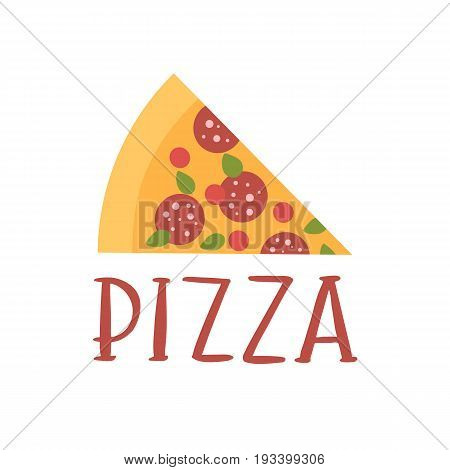 The hand-drawing inscription: Pizza and slice of pizza on a white background. It can be used for menu sign banner poster and other promotional marketing materials. Vector Image.