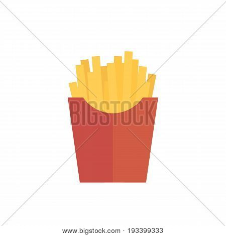 Icon french fries painted in flat style on a white background