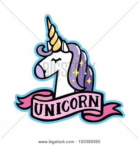 Unicorn with pink ribbon on a white background. It can be used for sticker badge card patch phone case poster t-shirt mug etc.