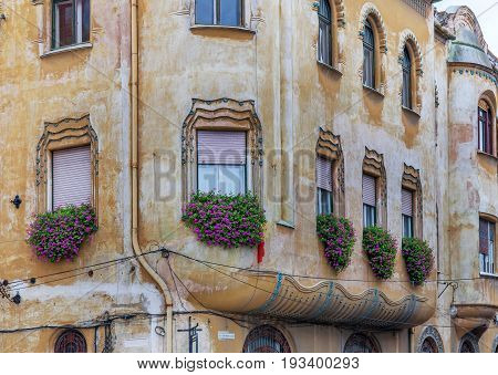 Old town center houses in the romanian western city Timisoara