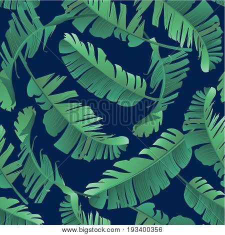 Seamless watercolor illustration of tropical leaves, jungle. Pattern with tropic summer background texture, wrapping paper, textile design. Banana palm leaves.