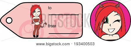 flirty evil girl cartoon expression giftcard in vector format