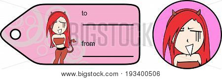 funny evil girl cartoon expression giftcard in vector format
