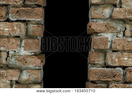 Darkness behind the brick wall niche. Abstract stress concept.