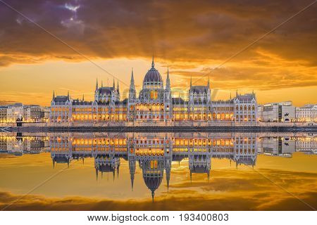 Hungarian Parliament and the Danube river Budapest Hungary