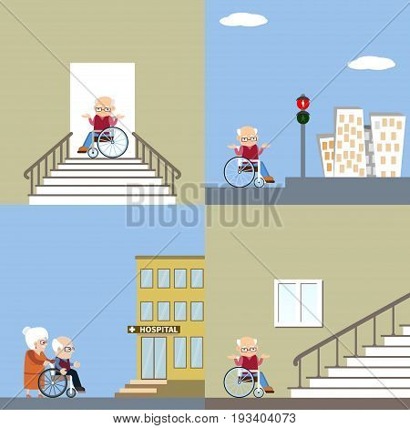 Set of vector illustration of difficulties of access for people with disability. Senior man in a wheelchair near the stairs and on the streets. Flat design. Problem of barrier free environment for physically challenged people.