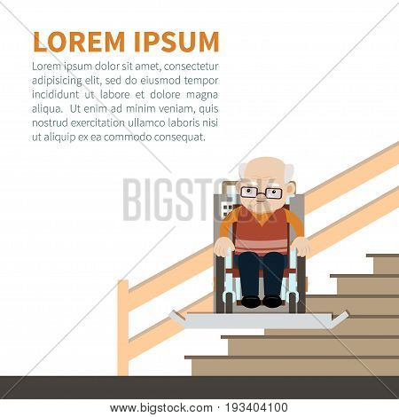 Senior caucasian man in a wheelchair using stairlift. Vector illustration. Flat style. The automatic chair lifting an elder to upstair. Concept for barrier free environment for physically challenged people.