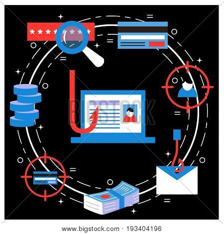 Phishing and fraud - vector illustration for hacking and cyber crimes. Flat style. For web and paper ads. Hacker attack, spam, password stealing concept.