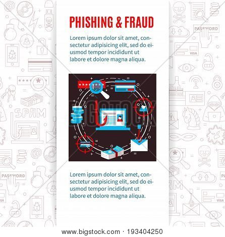 Phishing and fraud. Vector template with hacker's activity illustration, title and place for your text. Flat style. For web and paper advertising. PC safety illustration.