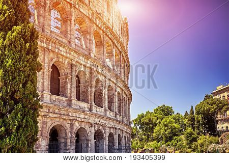 The Great Colosseum at sunset in Rome, Italy