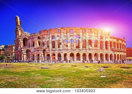 The Panorama Colosseum in Rome and blue sky, Italy.