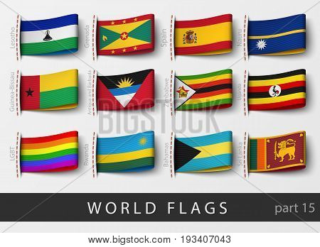 Vector set of flag labels of all countries