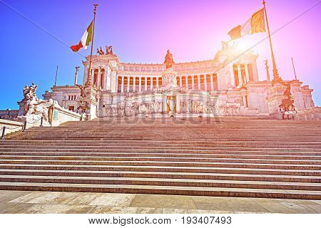 The Monument Vittorio Emanuele II or Altar of the Fatherland in Roma, Italia.
