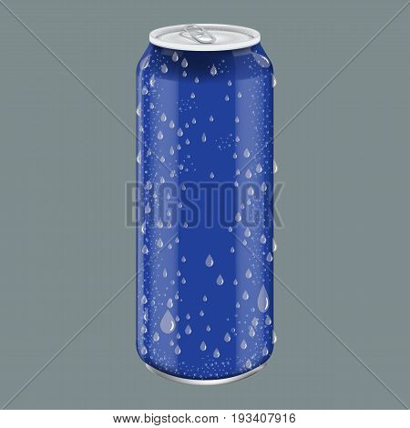 Blue Metal Aluminum Beverage Drink with water drops. Mockup for Product Packaging. Energetic Drink Can 500ml, 0, 5L. Illustrated vector