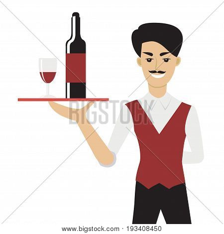 Vector illustration of young caucasian man with moustache - a waiter or a steward - holding a tray with bottle and a glass of wine. Flat cartoon character.