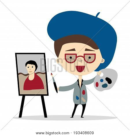 Funny cartoon artist holding a brush and palette near his painting. Vector illustration, flat design.Isolated on white. Design element for ads, web or children book.