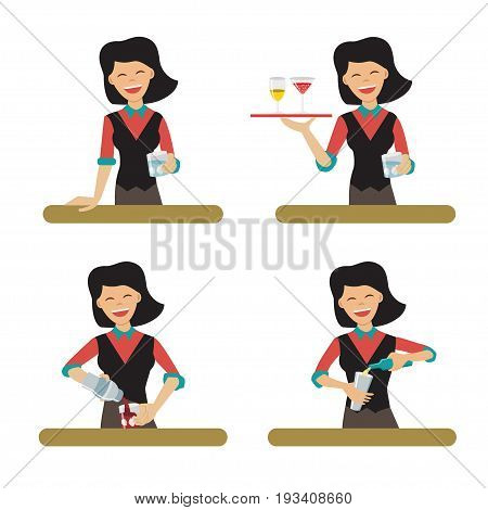 Set of female bartender character serving the alcohol. Vector illustration, flat style. Woman the barkeeper holding the tray with the glasses and pouring the drinks.