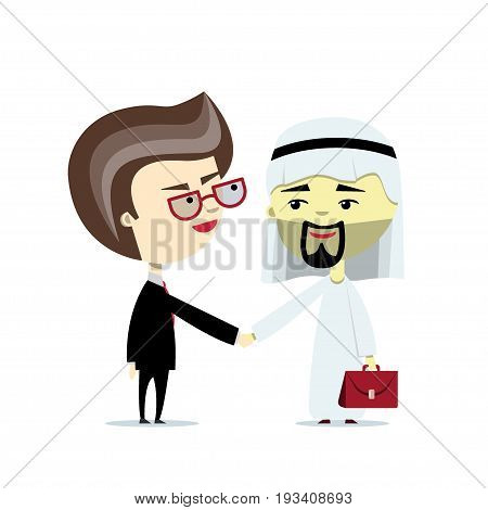 A caucasian and arabian businessmen shake hand. Vector illustration, flat design. Cartoon character. Concept of dealing, international partnership, multicultural business partners, oil business.