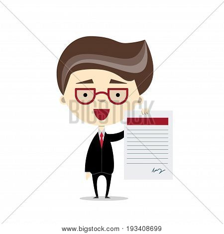 Funny cartoon businessman holding a document. Vector illustration, flat design. Concept for signing of contract, employment, tax form etc. Good choice for web design, paper and web ads, children book.