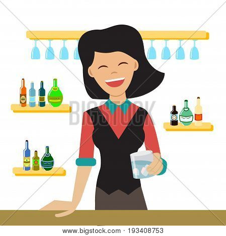 Vector illustration of happy female bartender holding a glass with alcohol drinks. Cartoon character. Flat style.Woman the barkeeper mixes a cocktail in the bar with alcoholic beverages.