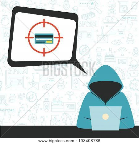 Hacker wearing hoodie with speech bubble and criminal thoughts. Vector illustration, flat style. Concept for hacking, intruder, crime figure, money stealing.