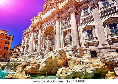 The Rome Trevi Fountain, Fontana di Trevi in Rome, Italy. Trevi is most famous fountain of Rome. Architecture and landmark of Rome.